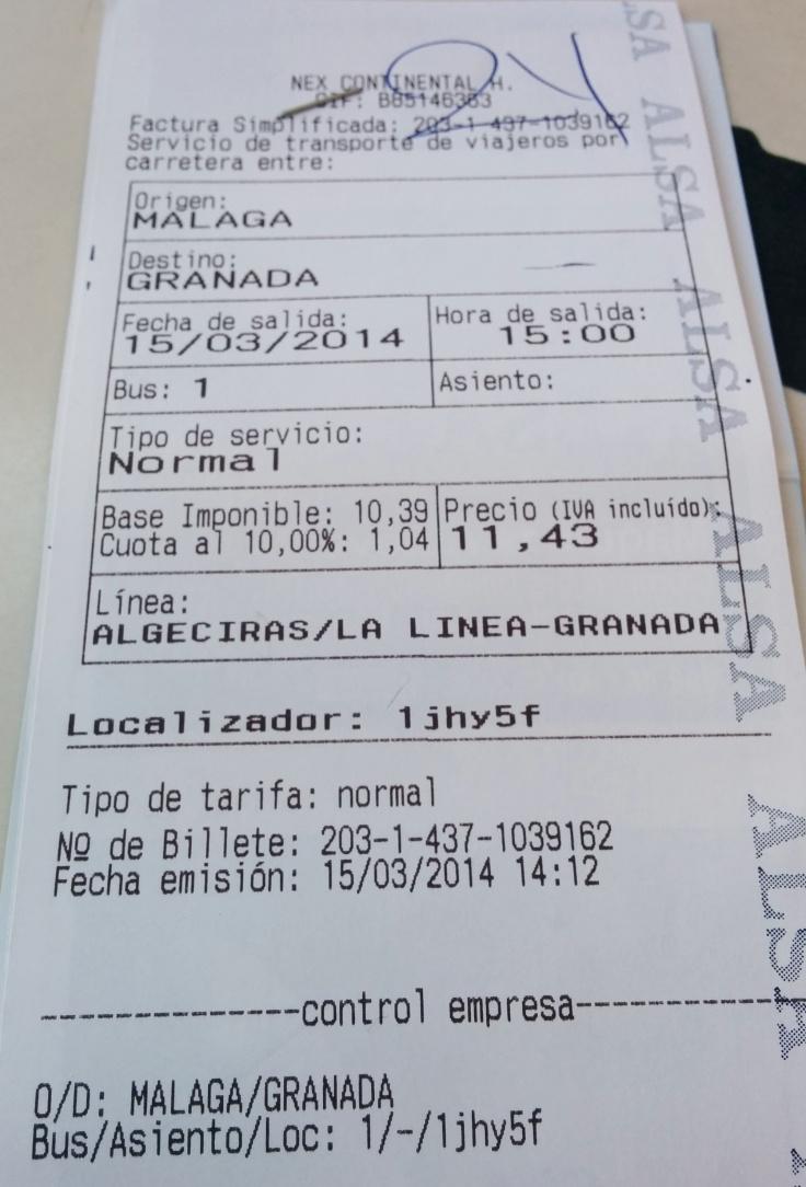 Malaga Granada Bus Ticket